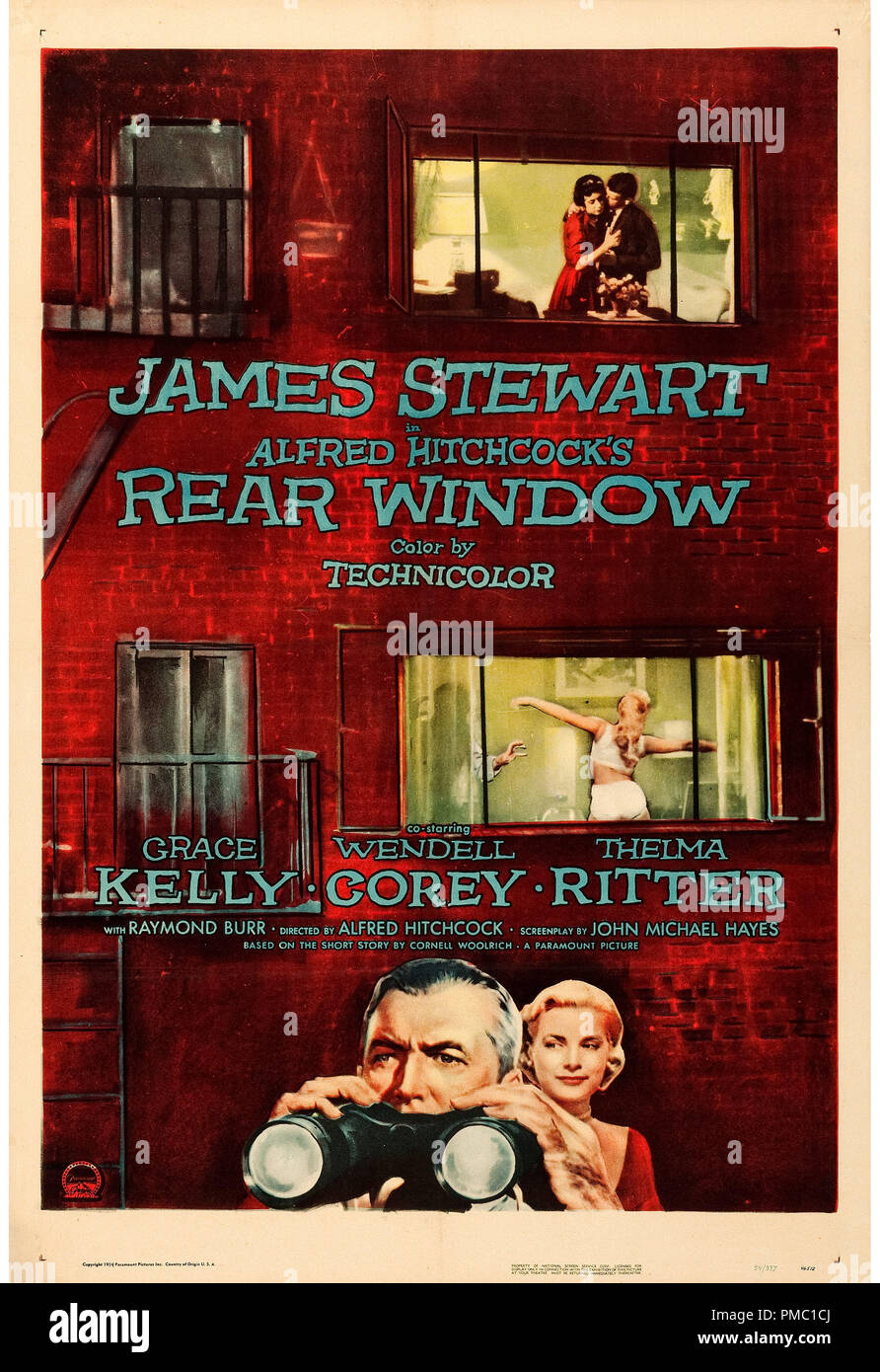 James Stewart, Grace Kelly,  Rear Window (Paramount, 1954). Poster File Reference  # 33595_364THA - Stock Image