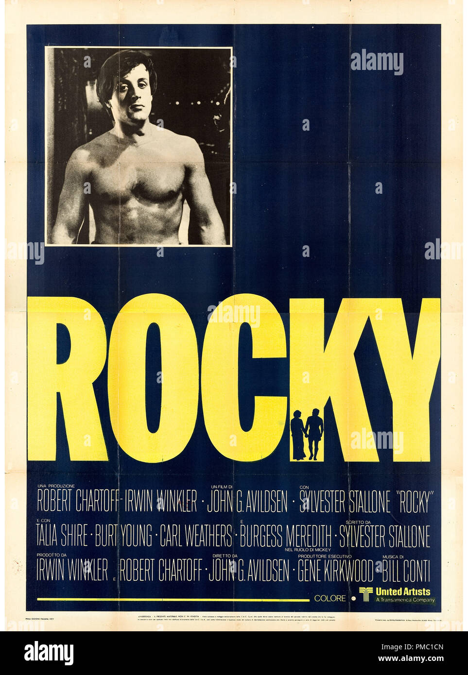 Sylvester Stallone,  Rocky (United Artists, 1977). Italian Poster File Reference  # 33595_367THA - Stock Image