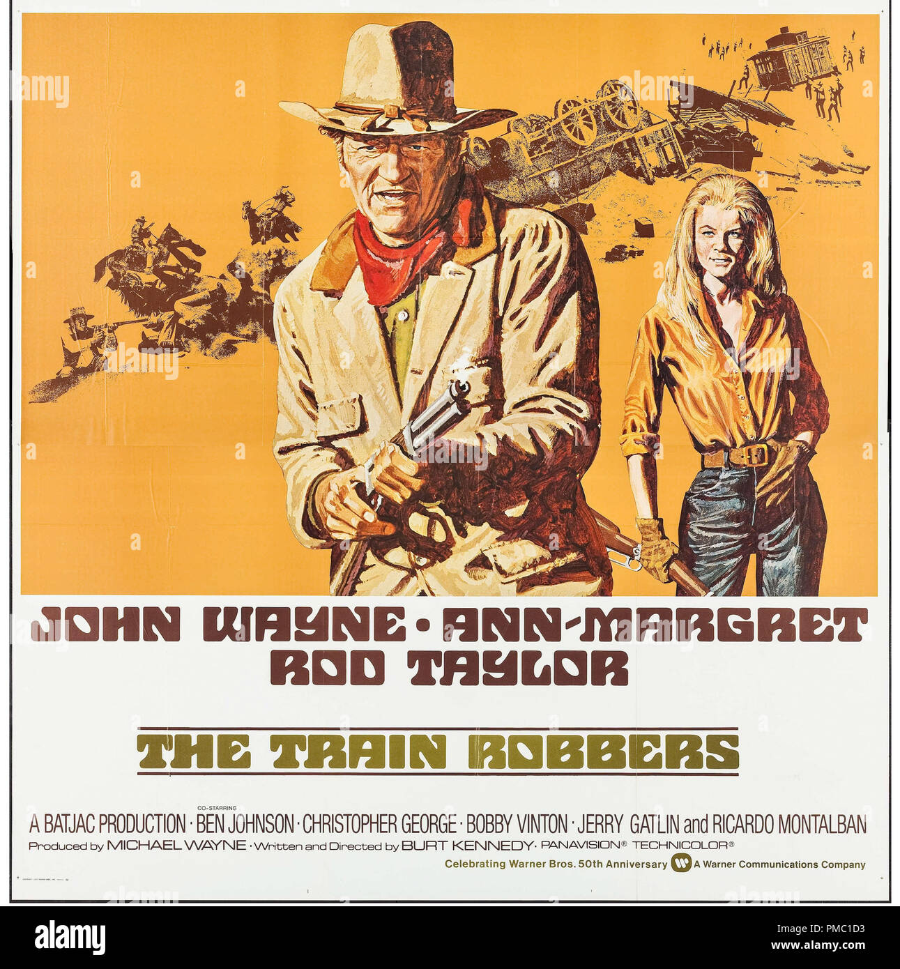 John Wayne, Ann-Margret,  The Train Robbers (Warner Brothers, 1973). Poster File Reference  # 33595_376THA - Stock Image
