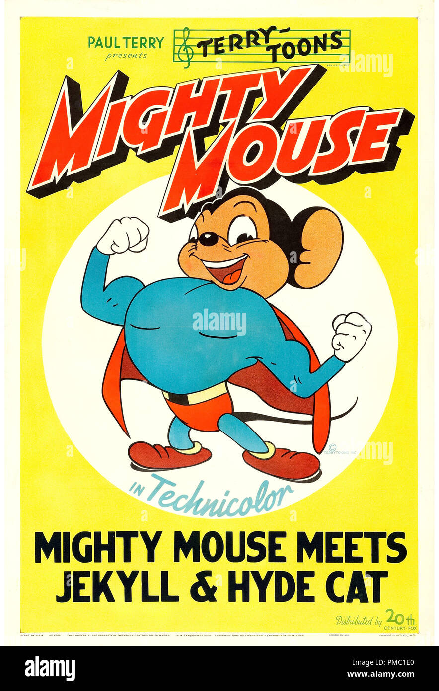Animated Film,  Mighty Mouse (20th Century Fox, 1943). Poster File Reference  # 33595_401THA - Stock Image