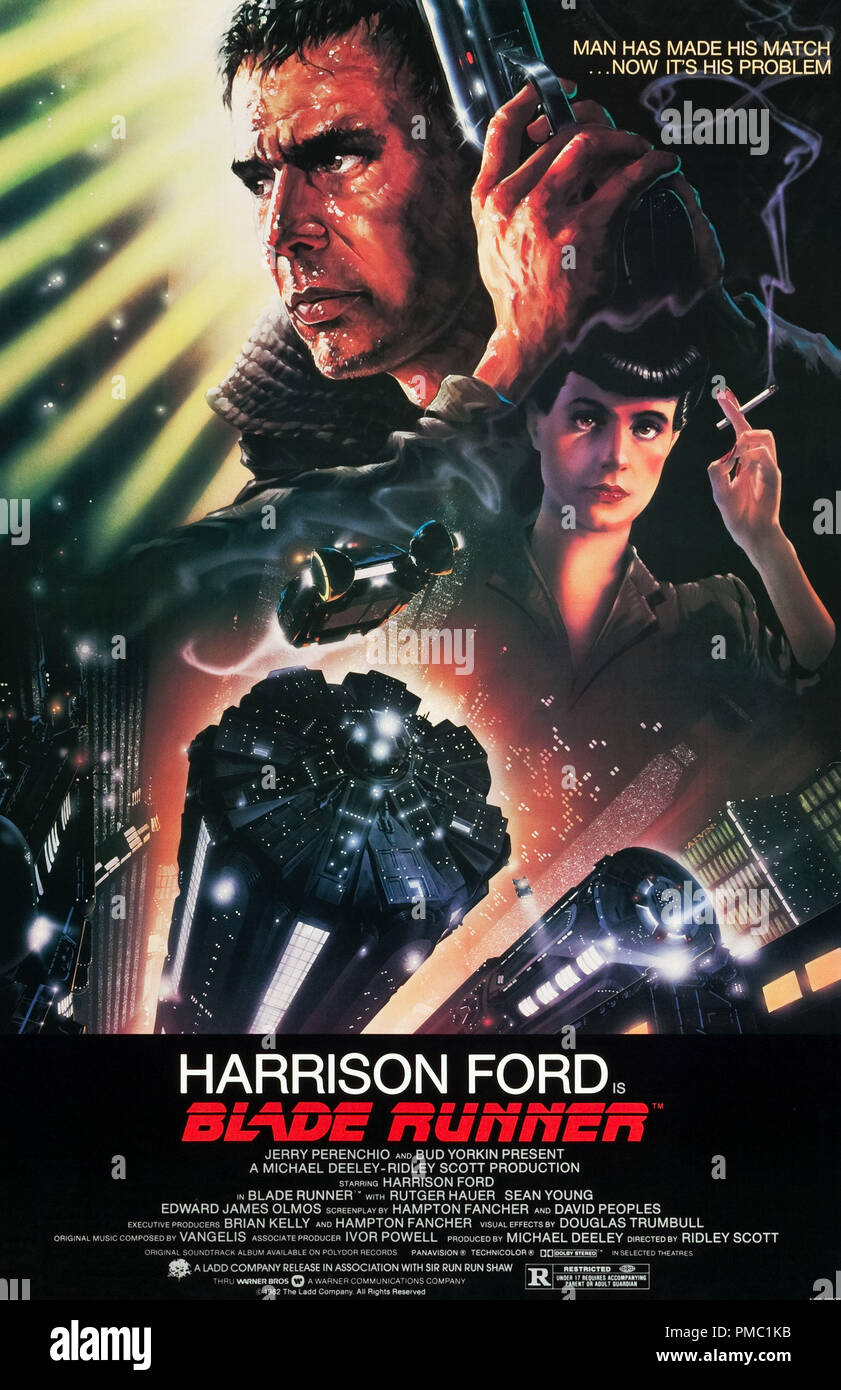 Harrison Ford,  Blade Runner (Warner Brothers, 1982). Poster  File Reference # 33595_553THA - Stock Image