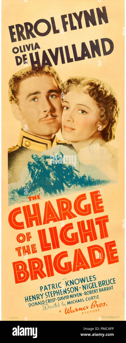 Errol Flynn, Olivia DeHavilland,  The Charge of the Light Brigade (Warner Brothers, 1936). Poster  File Reference # 33595_741THA - Stock Image