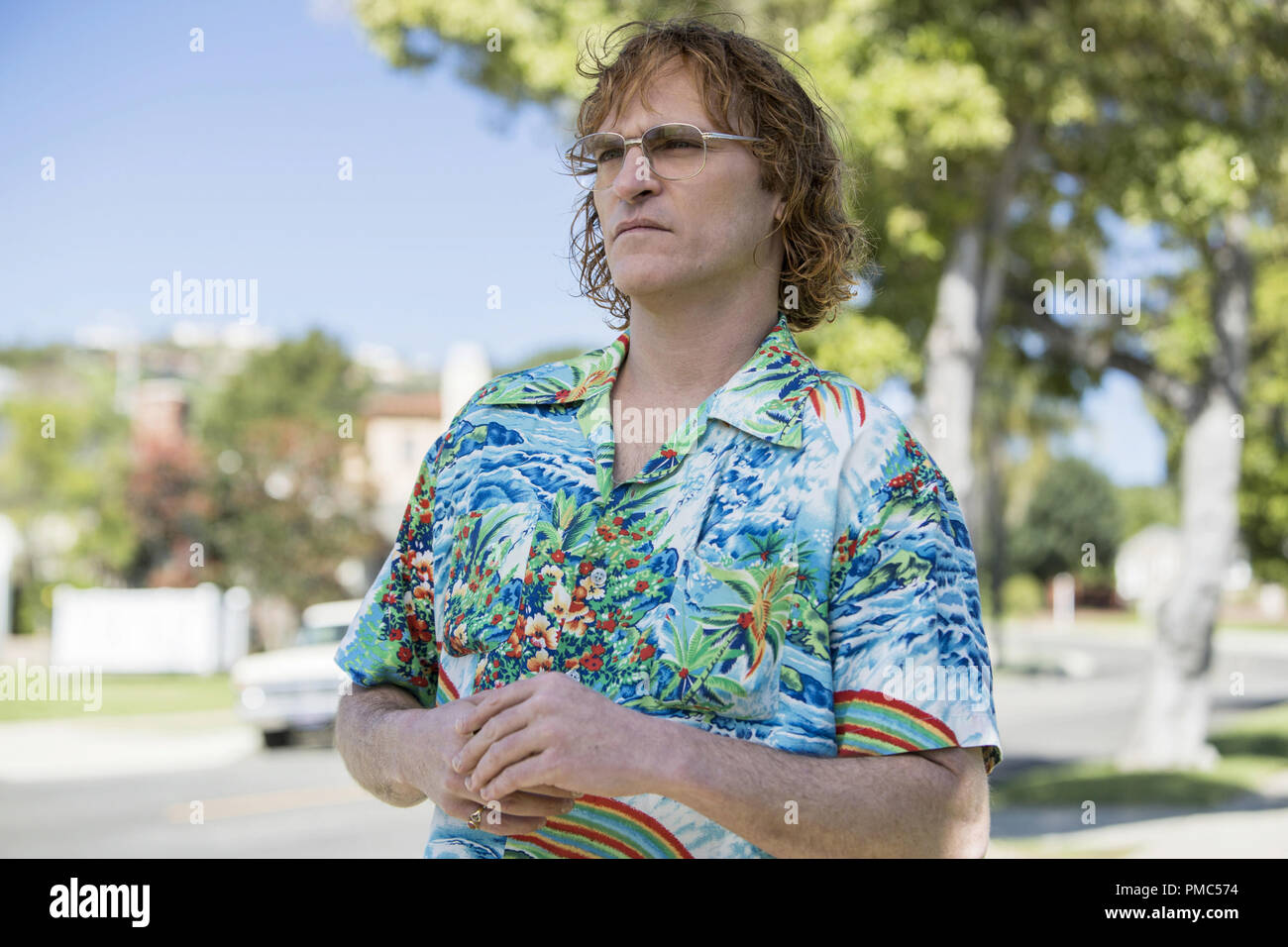 Joaquin Phoenix stars as John Callahan in DON'T WORRY, HE WON'T GET FAR ON FOOT. (2018) AMAZON CONTENT SERVICES LLC - Stock Image