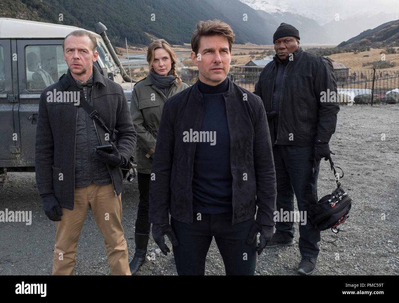 Left to right: Simon Pegg as Benji Dunn, Rebecca Ferguson as Ilsa Faust, Tom Cruise as Ethan Hunt and Ving Rhames as Luther Stickell in MISSION: IMPOSSIBLE - FALLOUT, from Paramount Pictures and Skydance. (2018) - Stock Image