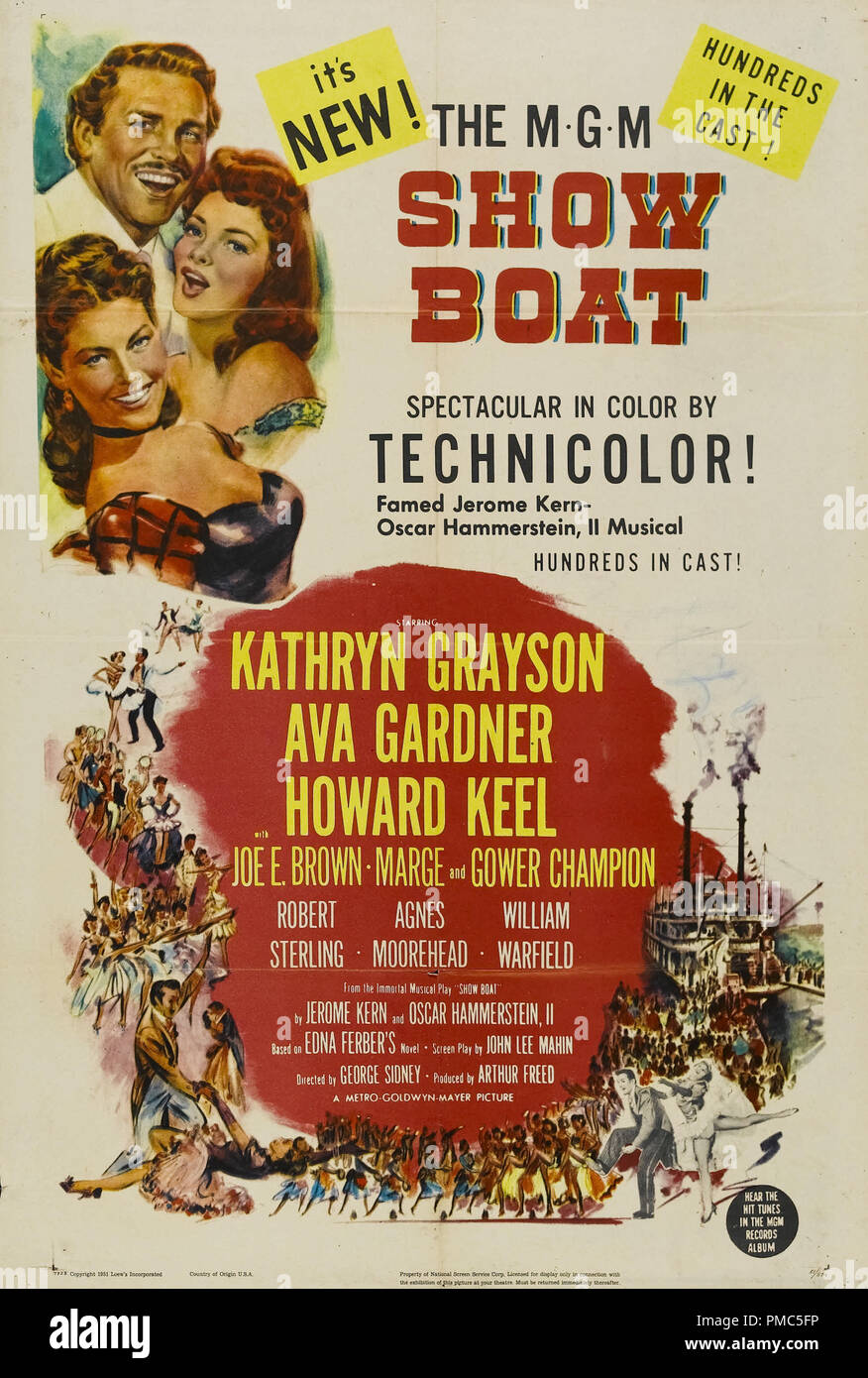 Ava Gardner, Kathryn Grayson, Howard Keel,  Show Boat (MGM, 1951). Poster  File Reference # 33635_044THA - Stock Image