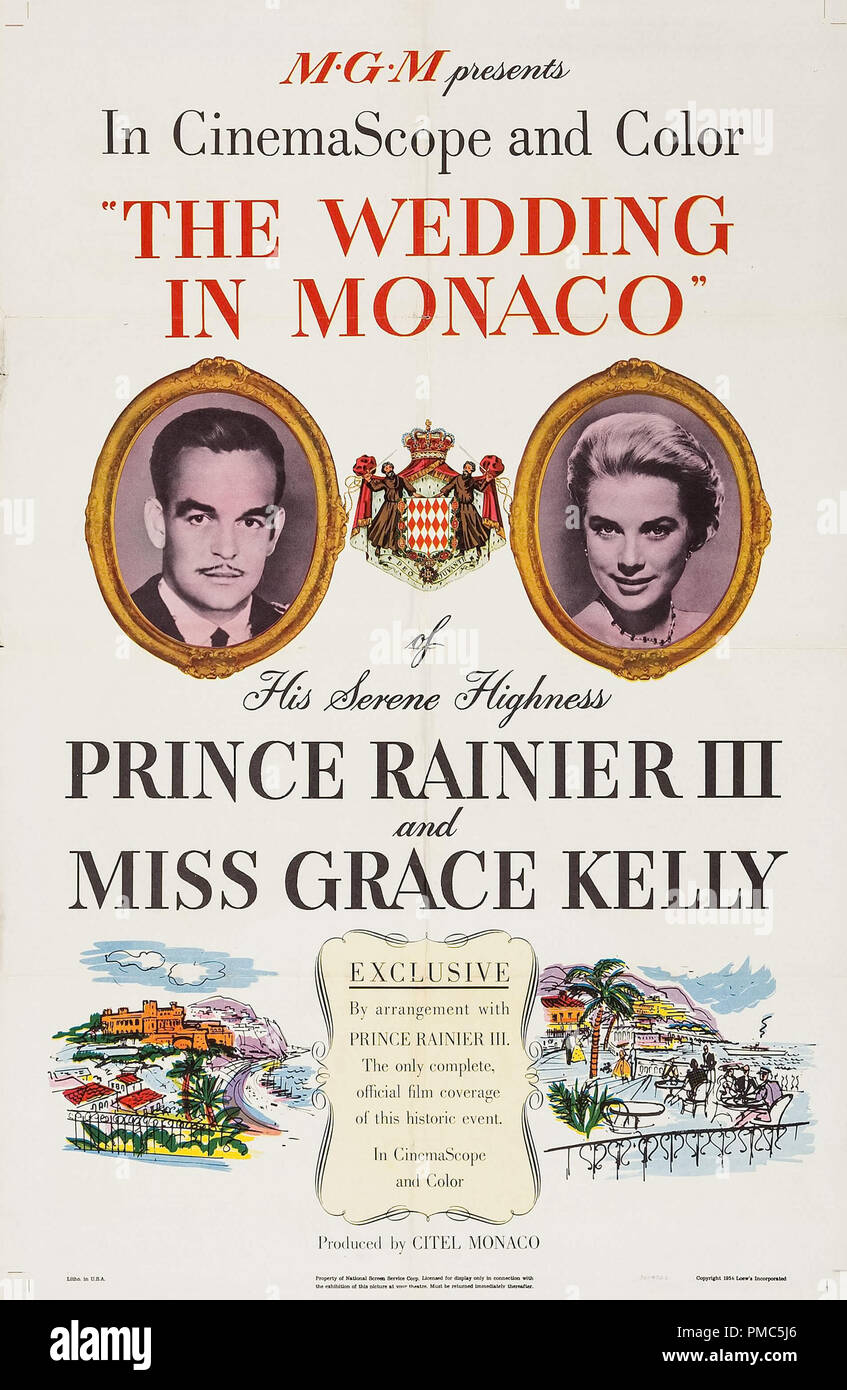 Grace Kelly,  The Wedding in Monaco (MGM, 1956).  Poster  File Reference # 33635_110THA - Stock Image