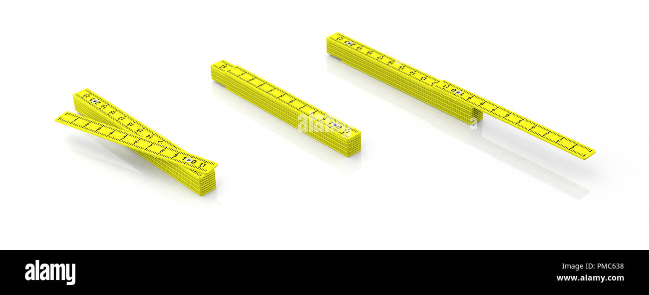 Carpenter folding rulers. Yellow wooden meters isolated on white background, banner. 3d illustration - Stock Image