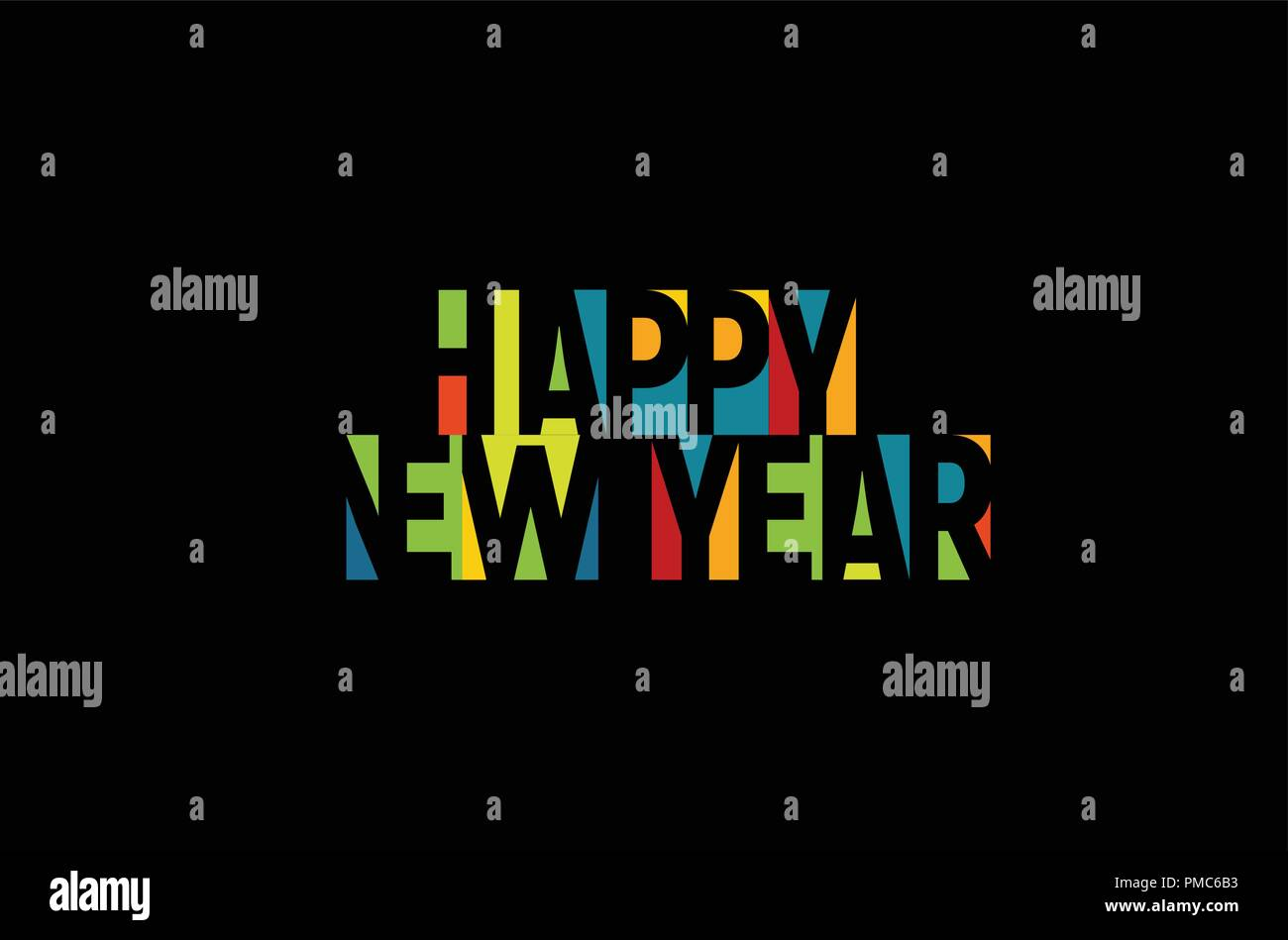 happy new year colorful letters banner template colored vector