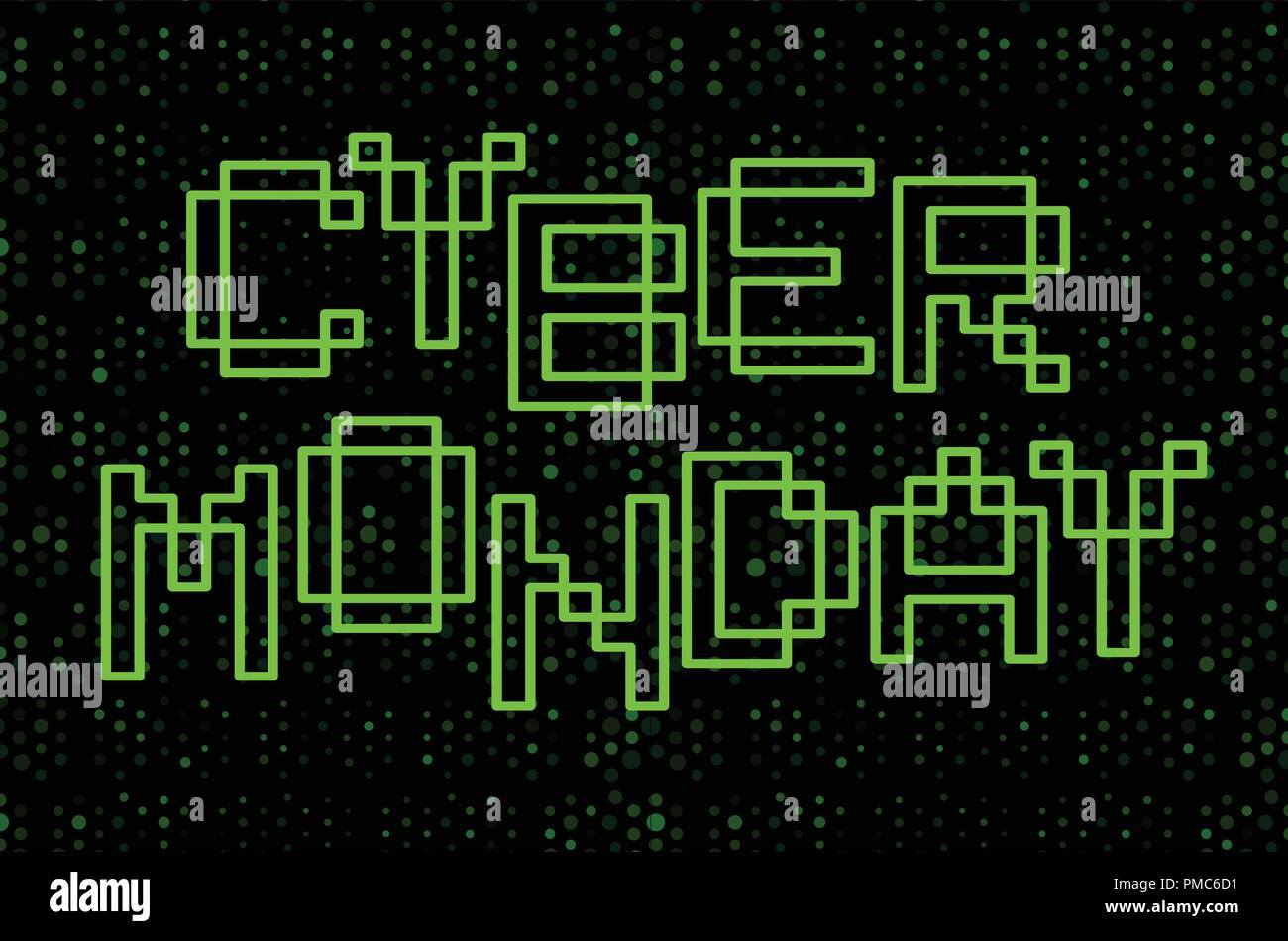 cyber monday text design green contour letters on black background