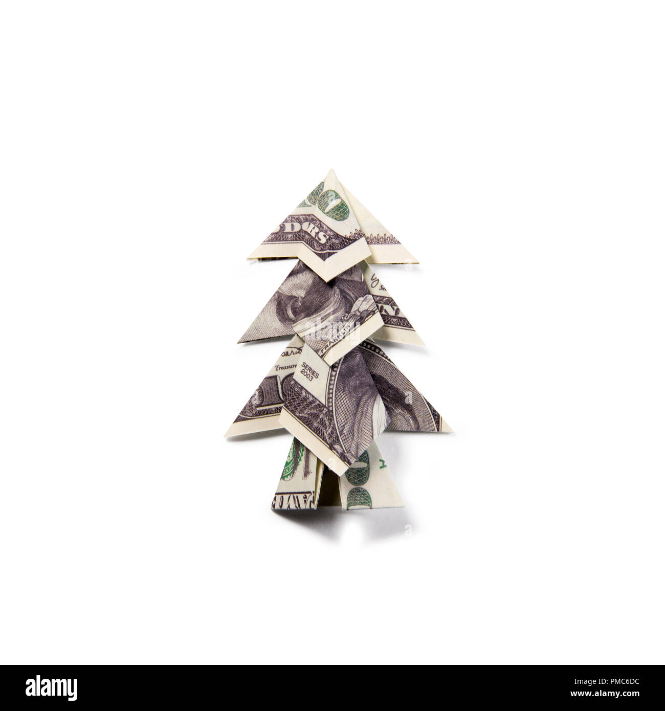 Money Origami Christmas tree - Stock Image