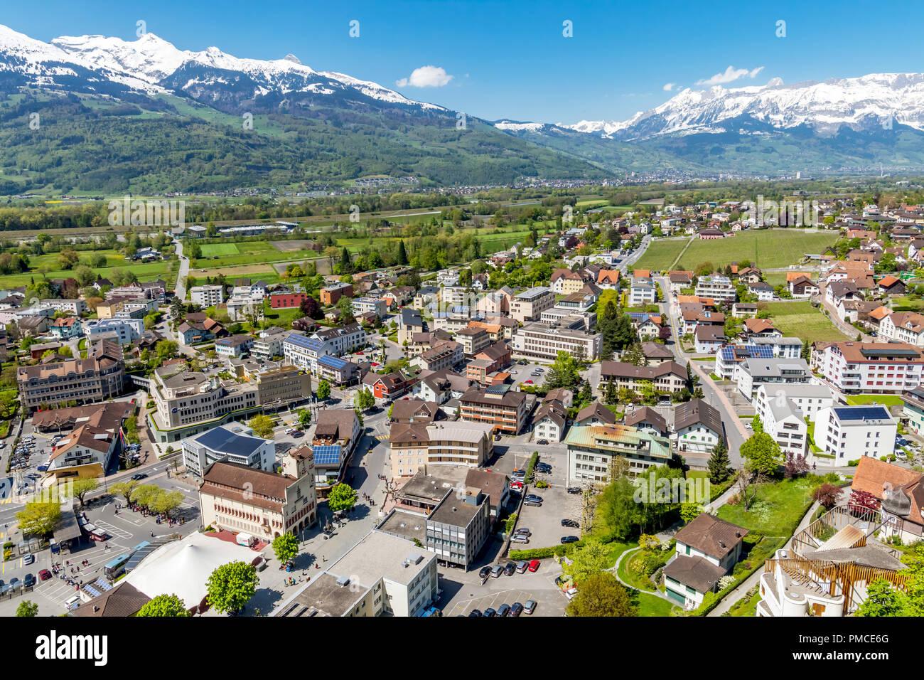Aerial view of Vaduz, capital of Lichtenstein. Stock Photo