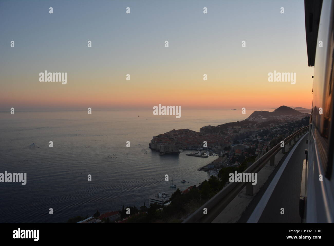 Sunset view above Dubrovnik, Summer 2018, Europe - Stock Image