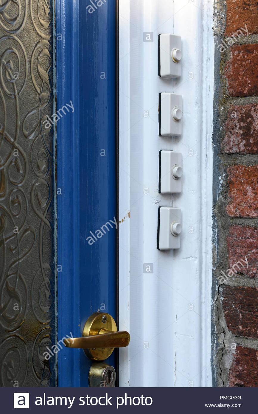 Apartment door bells, Blandford, Dorset, England, UK - Stock Image