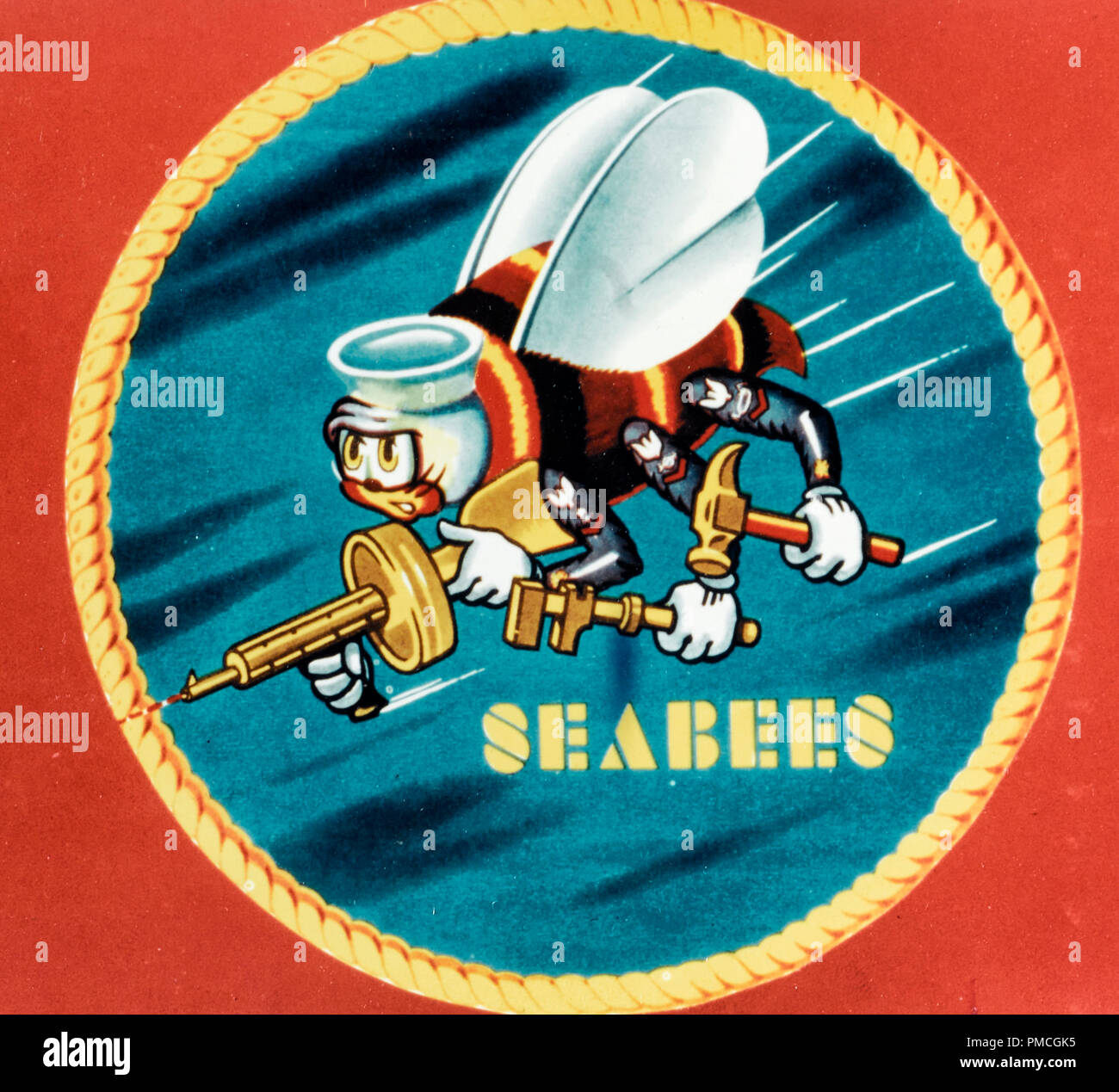 Insignia of the Navy's mobile construction battalions, or Seabees. - Stock Image