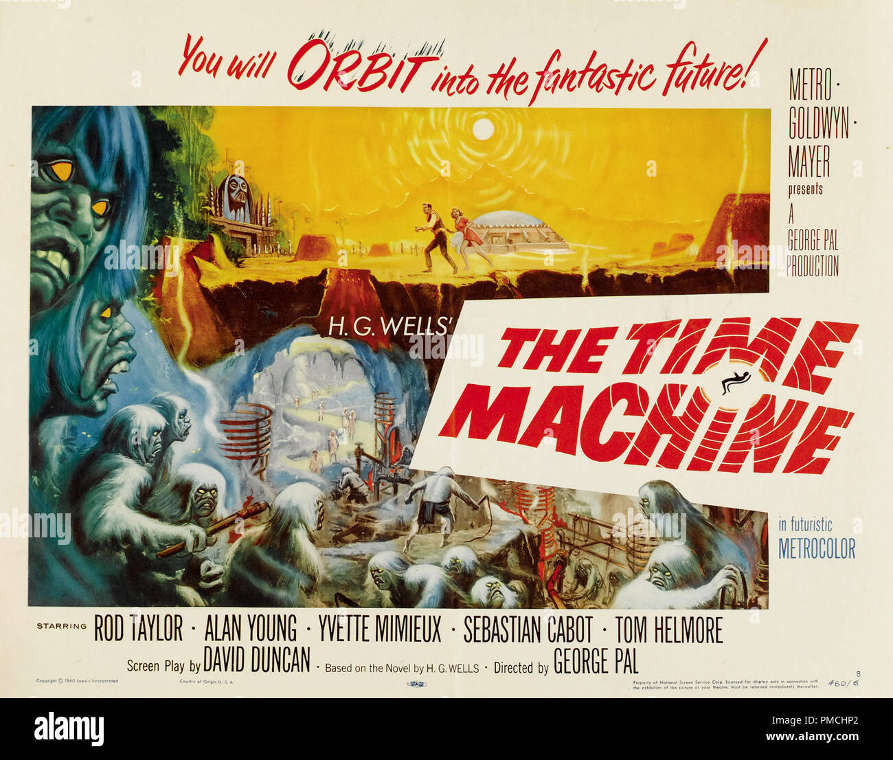 Rod Taylor, Yvette Mimieux,  The Time Machine (MGM, 1960). Lobby Card  File Reference # 33636_676THA - Stock Image