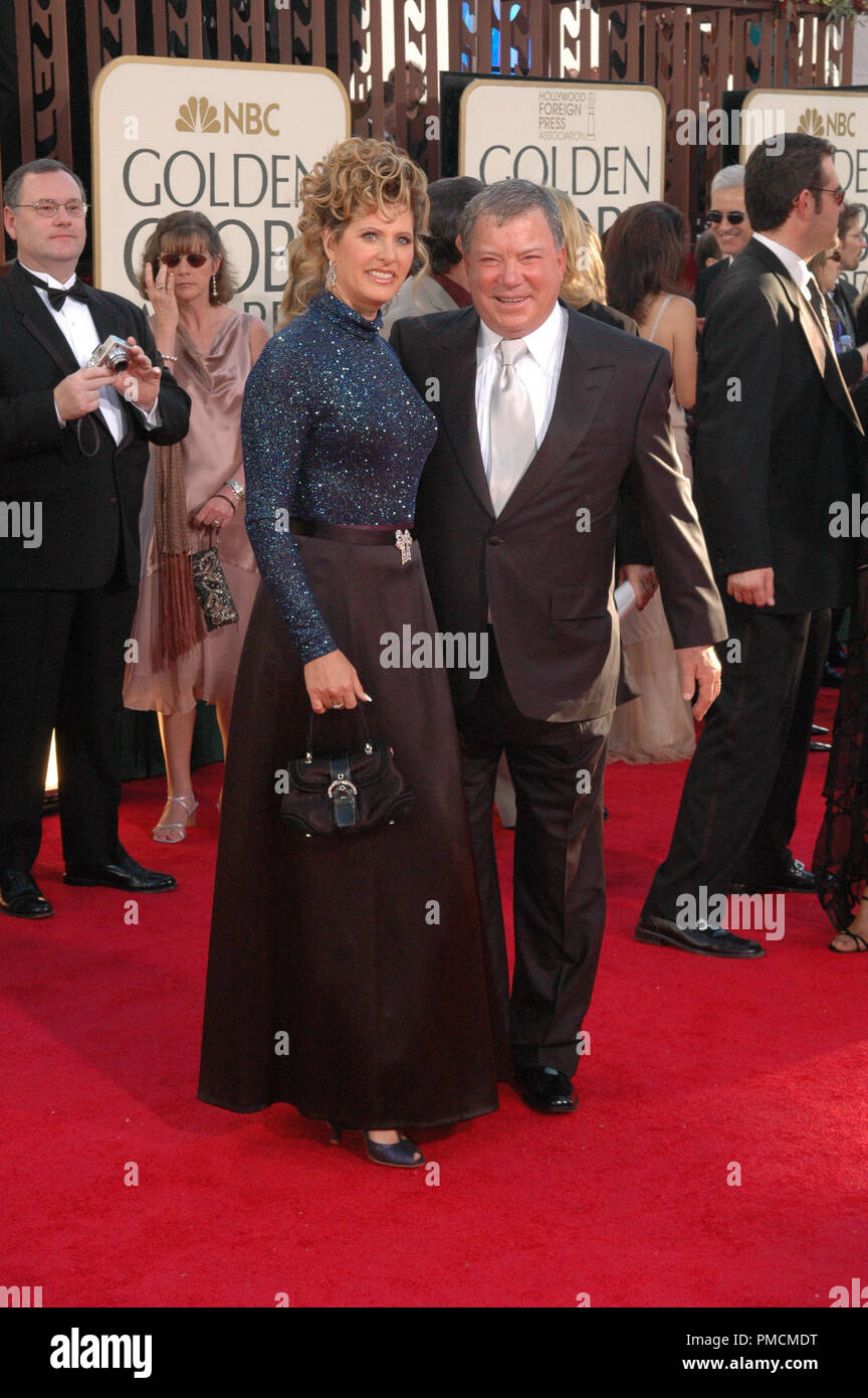 Arrivals at the  'Golden Globe Awards - 62nd Annual' William Shatner with wife Elizabeth Anderson Martin 1-16-2005  File Reference # 1080_122PLX  For Editorial Use Only - - Stock Image