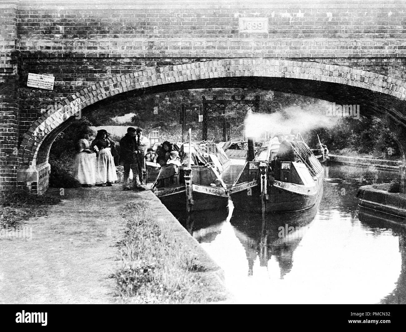 Foxton Locks, Market Harborough, early 1900s - Stock Image