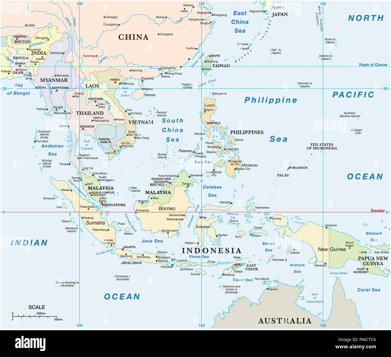 southeast asia vector map with coordinates and scale. - Stock Image