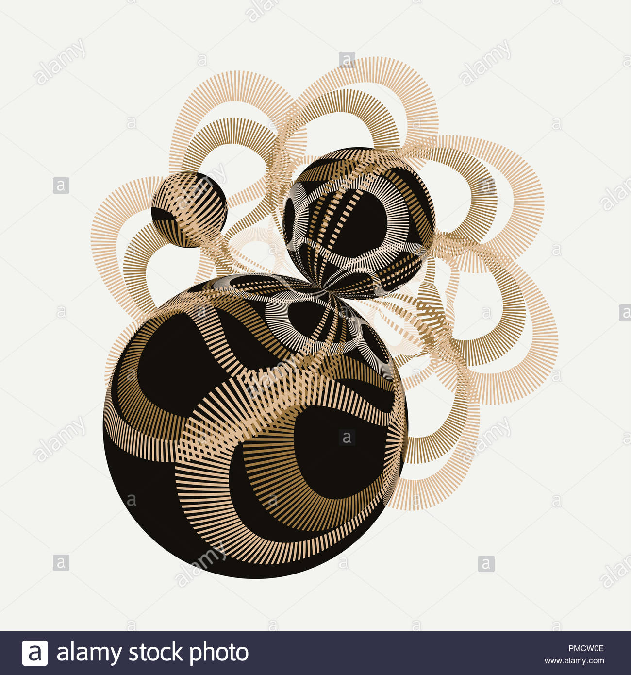 abstract illustration with geometric entanglement of spheres in gold and black - Stock Image