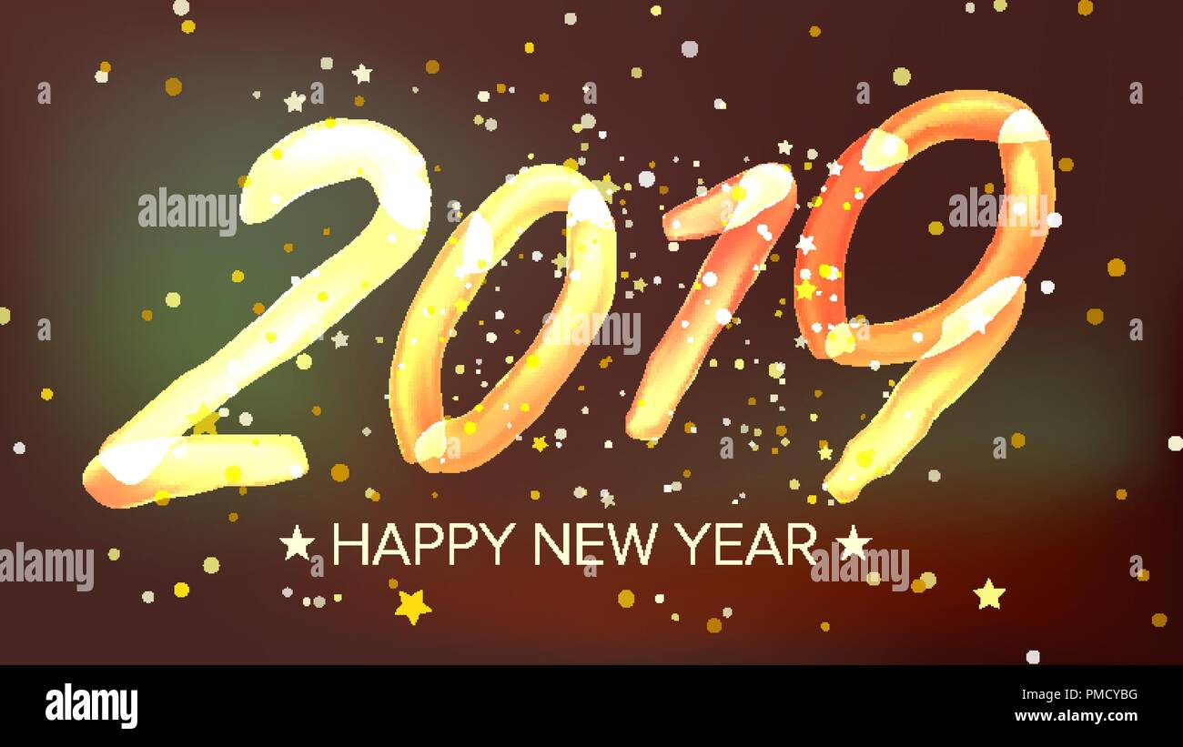 2019 happy new year background vector glow neon light greeting card brochure flyer template design illustration