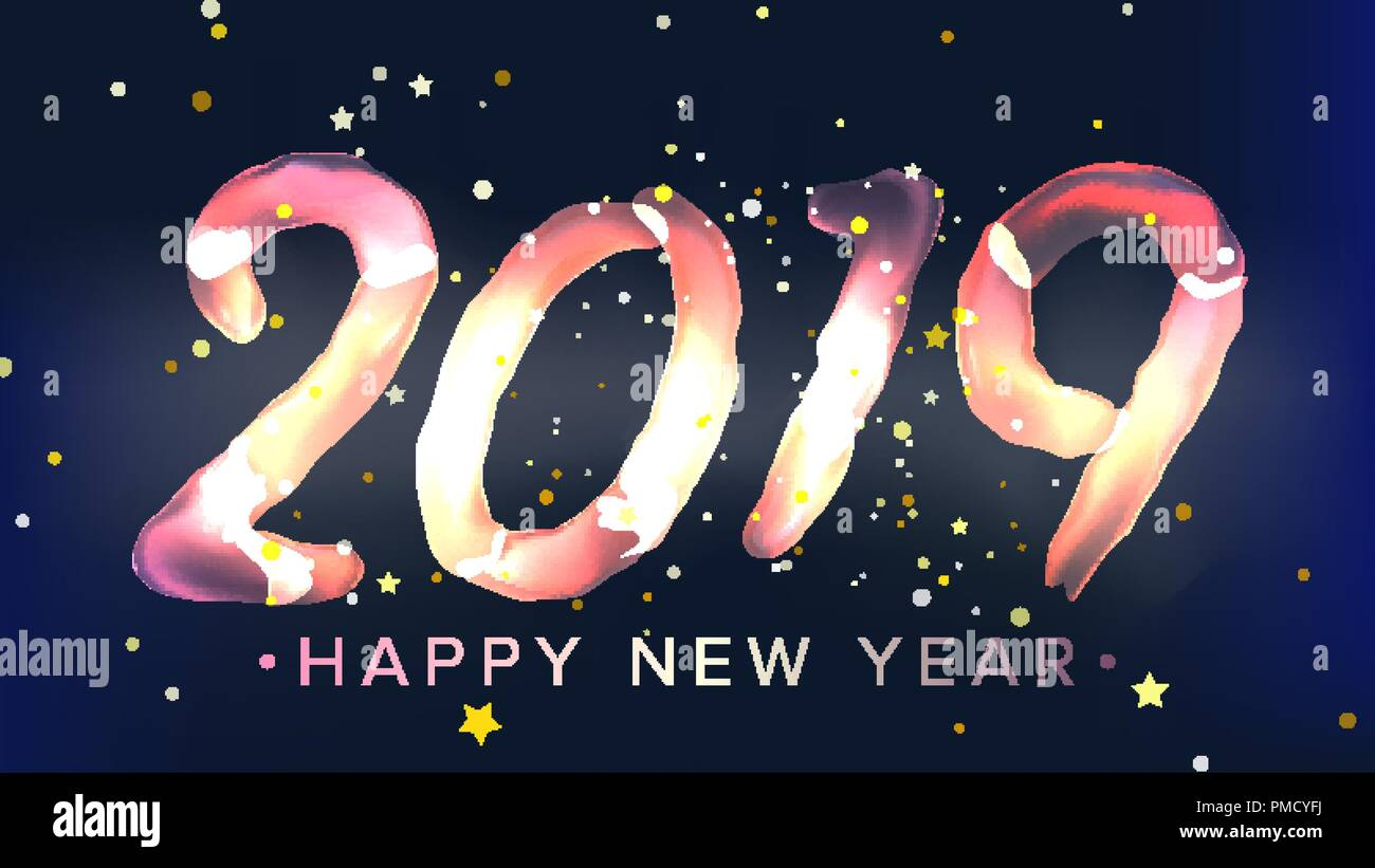 2019 happy new year background vector glow neon light christmas poster greeting card brochure flyer template design illustration