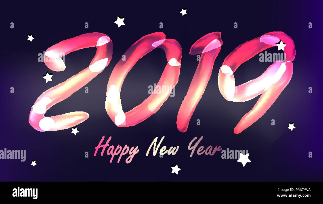 2019 happy new year background vector glow neon light numbers 2019 christmas new year poster design illustration