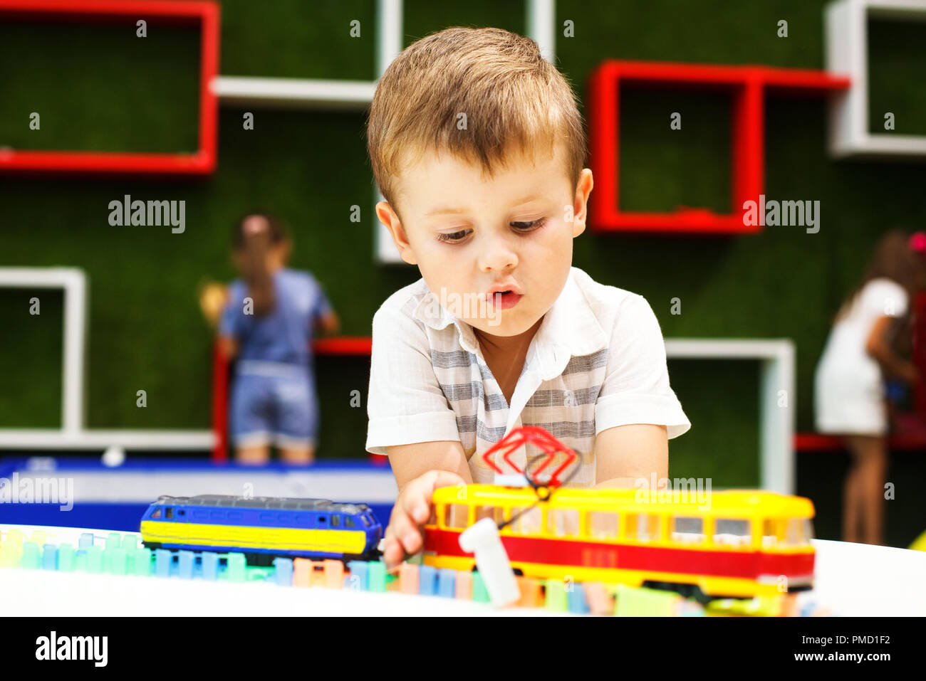 Cute Boy Playing With Tram Developing Toys Transportation Toys For