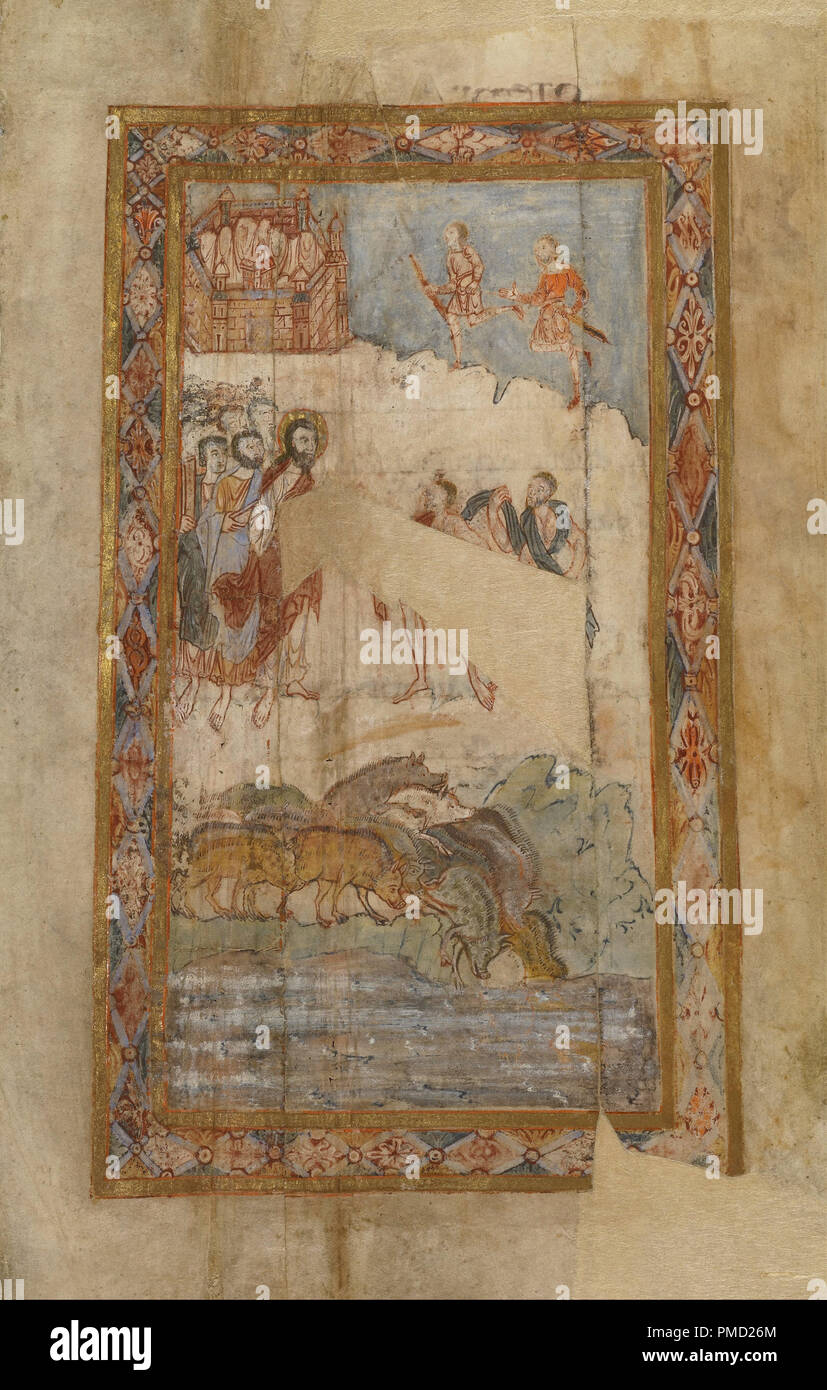 The Miracle of the Gadarene Swine. Date/Period: Ca. 1000. Detached leaf. Tempera colors, gold leaf, and ink on parchment. Height: 313 mm (12.32 in); Width: 181 mm (7.12 in). Author: UNKNOWN. - Stock Image