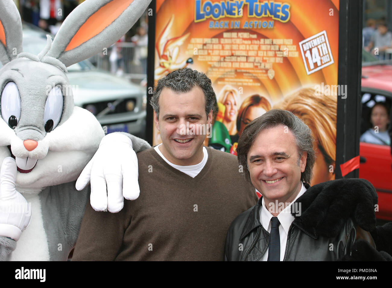 'Looney Tunes: Back in Action' Premiere 11-9-2003 Producer Bernie Goldmann and Director Joe Dante with Bugs Bunny Photo by Joseph Martinez - All Rights Reserved  File Reference # 21596_0024PLX  For Editorial Use Only -  All Rights Reserved - Stock Image