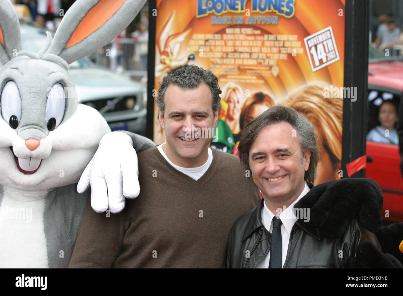 'Looney Tunes: Back in Action' Premiere 11-9-2003 Producer Bernie Goldmann and Director Joe Dante with Bugs Bunny Photo by Joseph Martinez - All Rights Reserved  File Reference # 21596_0025PLX  For Editorial Use Only -  All Rights Reserved - Stock Image