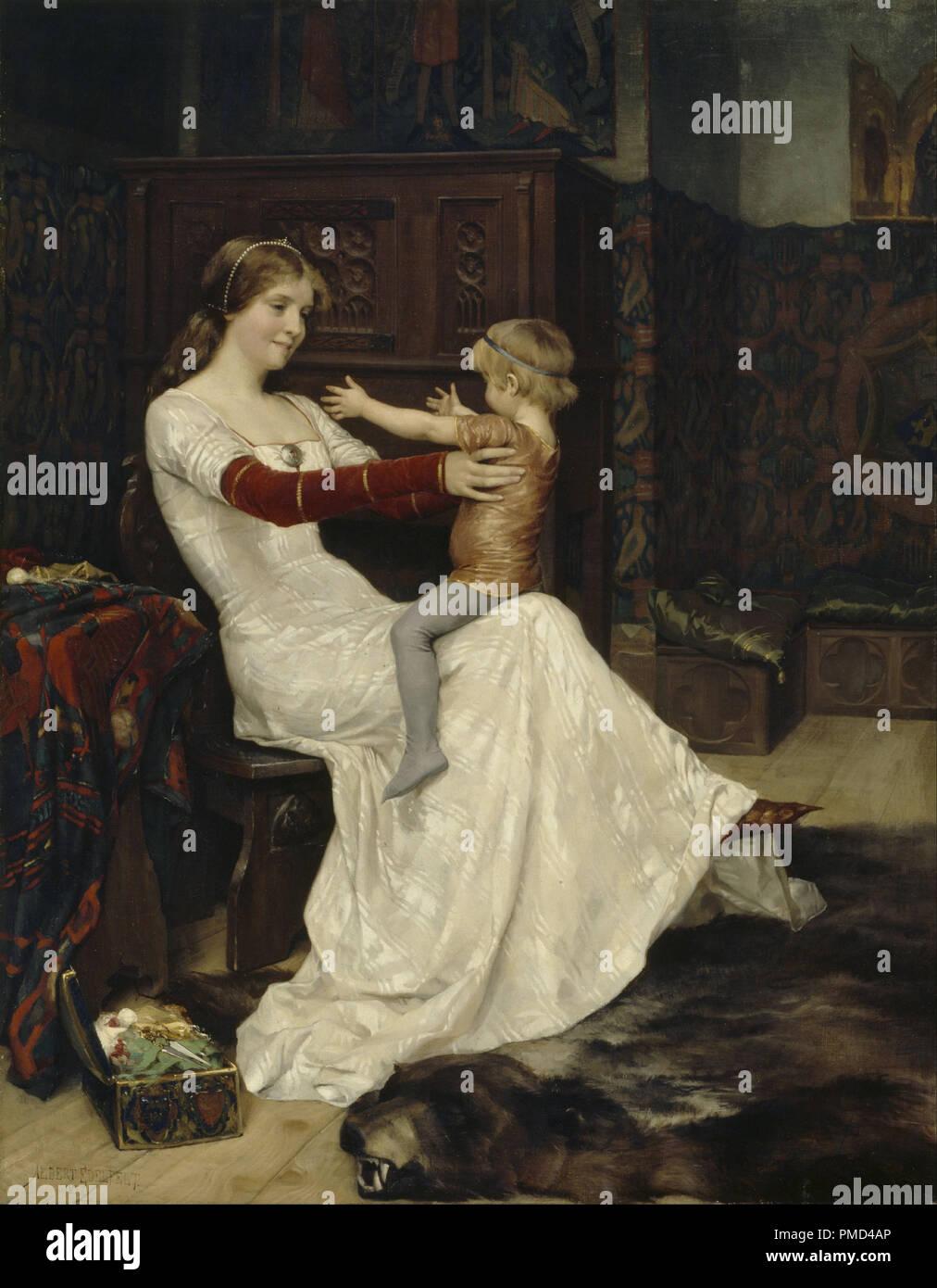 Queen Bianca. Date/Period: 1877. Painting. Oil on canvas. Height: 96.5 cm (37.9 in); Width: 75.5 cm (29.7 in). Author: Albert Edelfelt. Edelfelt, Albert Gustaf Aristides. Stock Photo