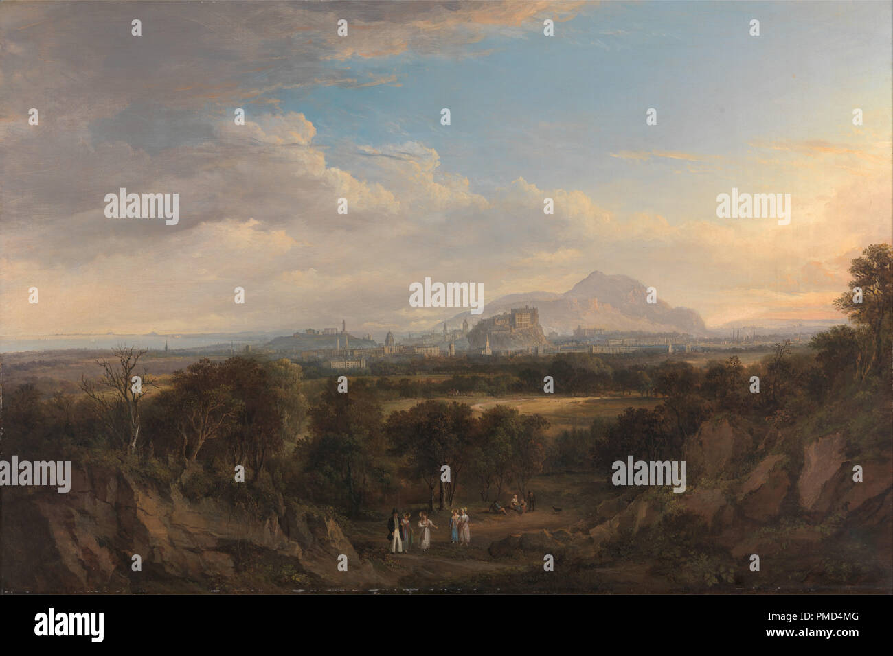 A View of Edinburgh from the West. Date/Period: 1822 to 1826. Painting. Oil on canvas. Height: 616 mm (24.25 in); Width: 921 mm (36.25 in). Author: Alexander Nasmyth. Stock Photo