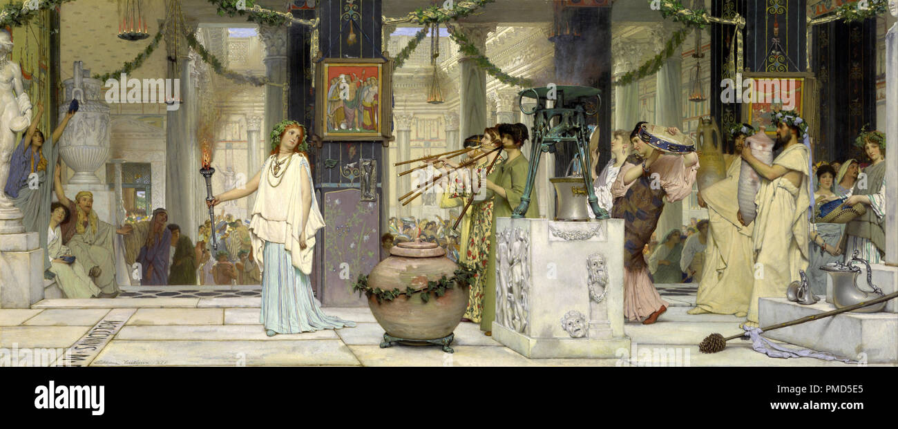 The vintage festival. Date/Period: 1871. Painting. Oil on panel. Height: 510 mm (20.07 in); Width: 1,190 mm (46.85 in). Author: Lawrence Alma-Tadema. Stock Photo