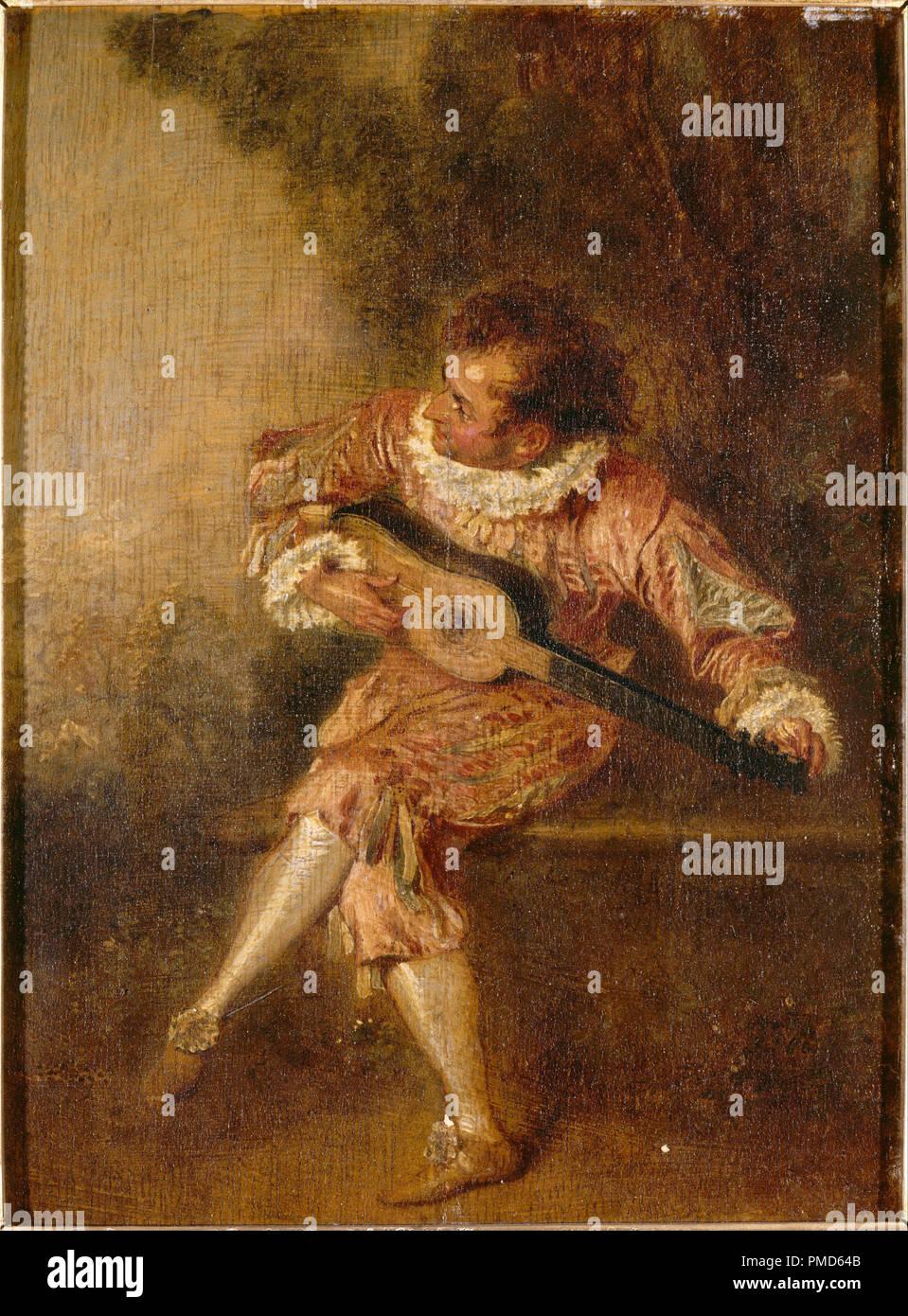 Le donneur de sérénades (Mezetin). Date/Period: Ca. 1715. Painting. Oil on panel. Height: 240 mm (9.44 in); Width: 175 mm (6.88 in). Author: ANTOINE WATTEAU. WATTEAU, ANTOINE. Watteau, Jean Antoine. - Stock Image