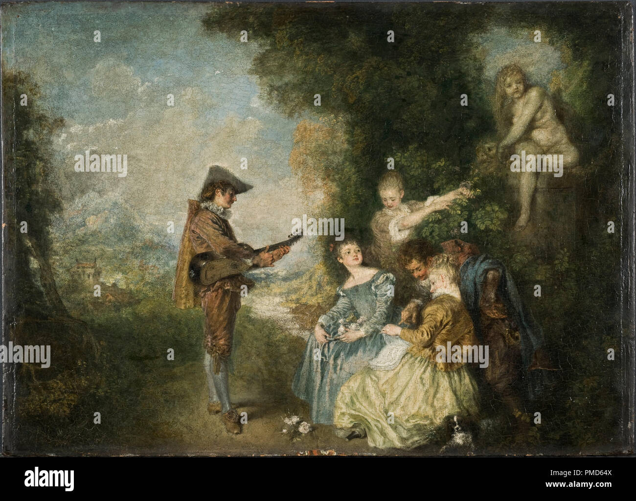 Date/Period: 1716 - 1717. Painting. Oil on panel. Height: 440 mm (17.32  in); Width: 610 mm (24.01 in). Author: ANTOINE WATTEAU. WATTEAU, ANTOINE.
