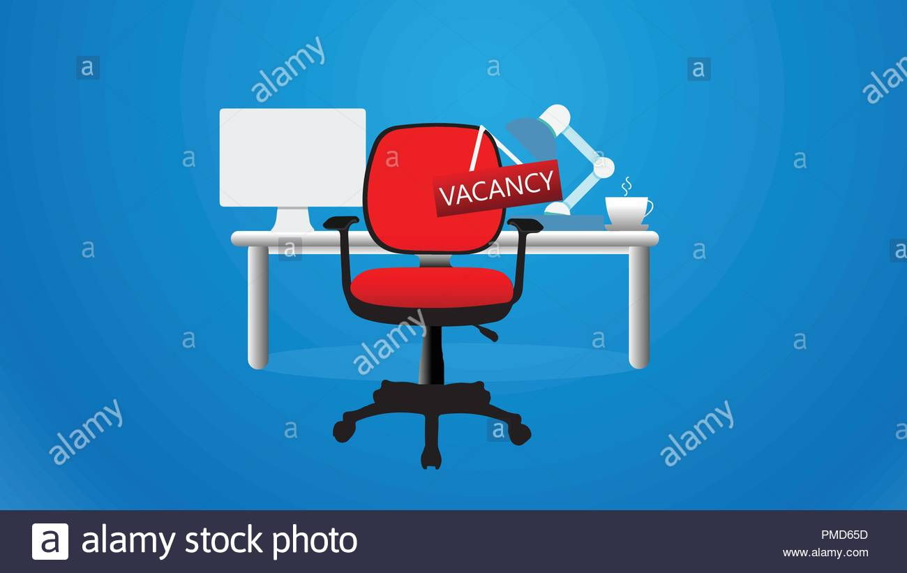 Chair with vacancy sign hanging with office at background - Stock Vector
