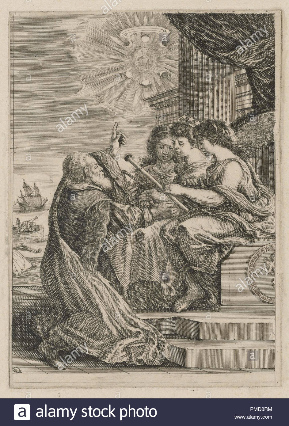 Frontispiece for Opere de Galileo Galilei. Date/Period: 1656. Etching. Width: 17.8 cm. Height: 24.9 cm (sheet). Author: STEFANO DELLA BELLA. - Stock Image