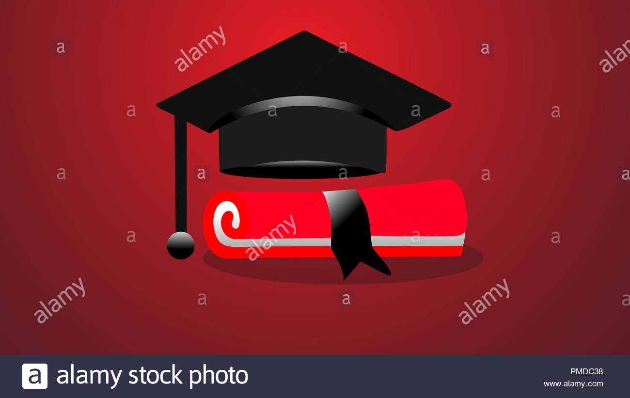 Background abstract beige education graduation cap diploma red bow - Stock Image