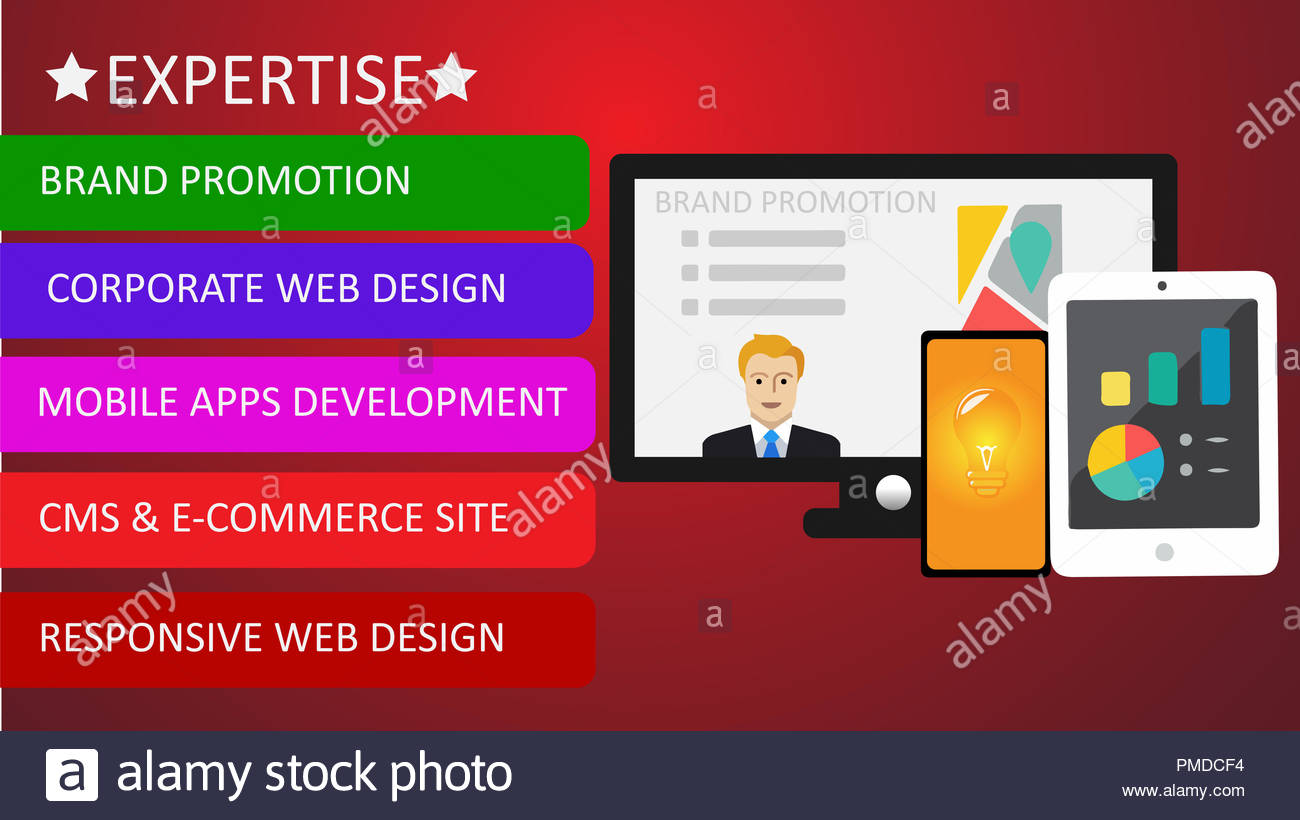 Expertise Brand promotion  with computer, tab & mobile - Stock Image
