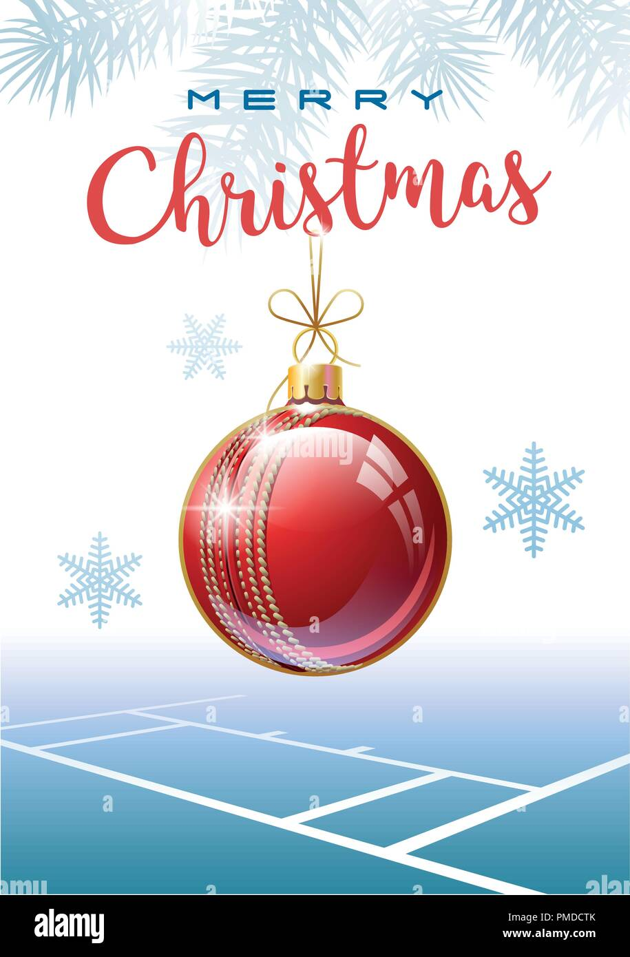 Merry Christmas Sports Greeting Card Realistic Cricket Ball In The