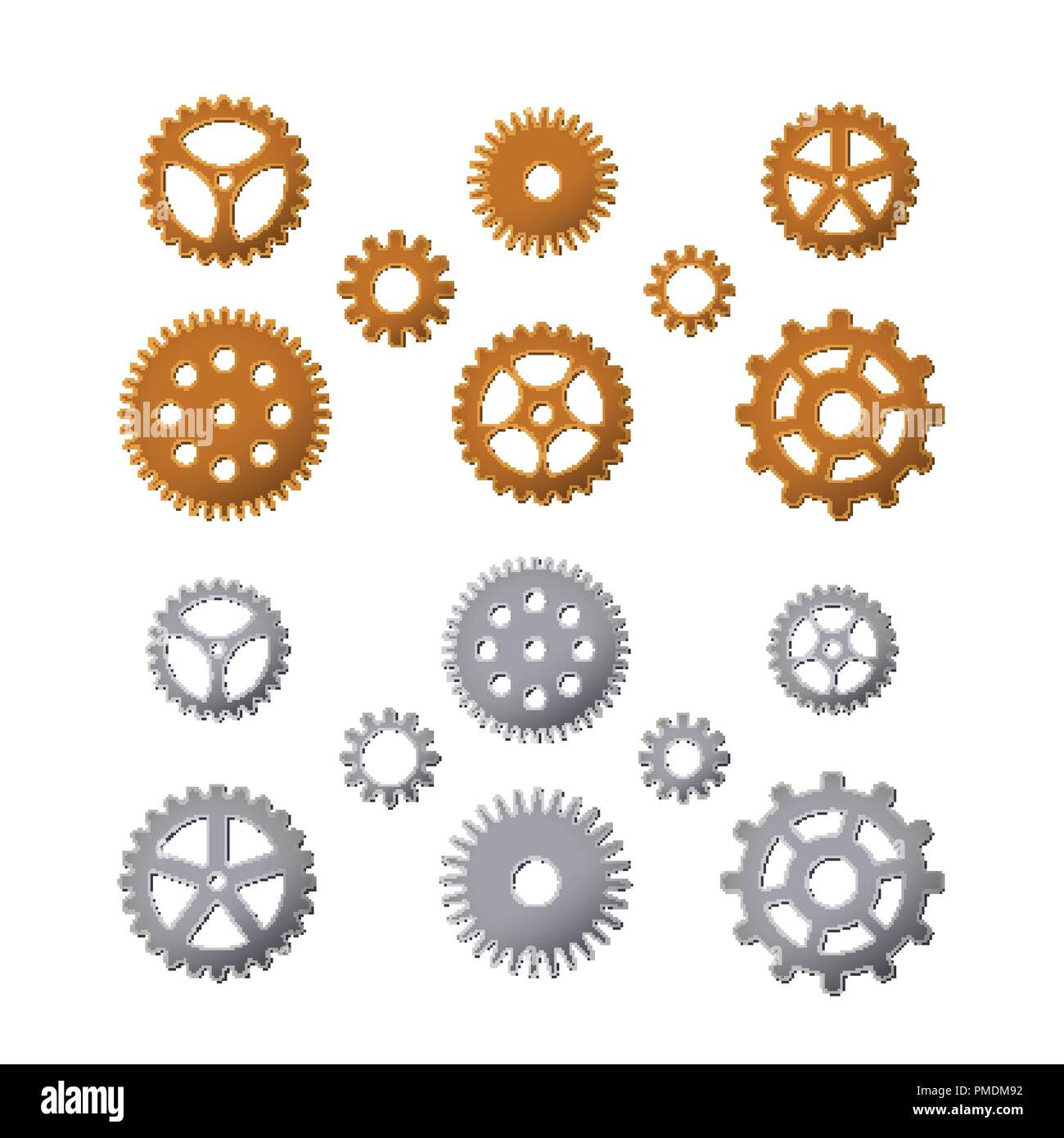 Set of gears. Brass and steel. Vector illustration. Details of cars and watches. Steampunk design. - Stock Vector