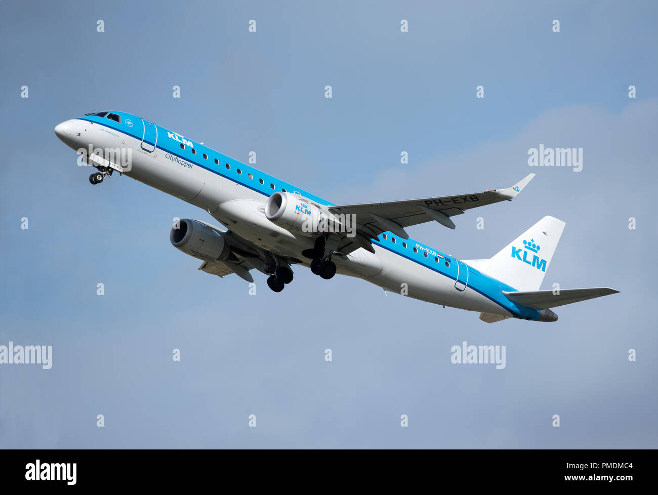 KLM City Hopper from Amsterdam at Inverness airport on it's daily scheduled trip over the North Sea. Stock Photo