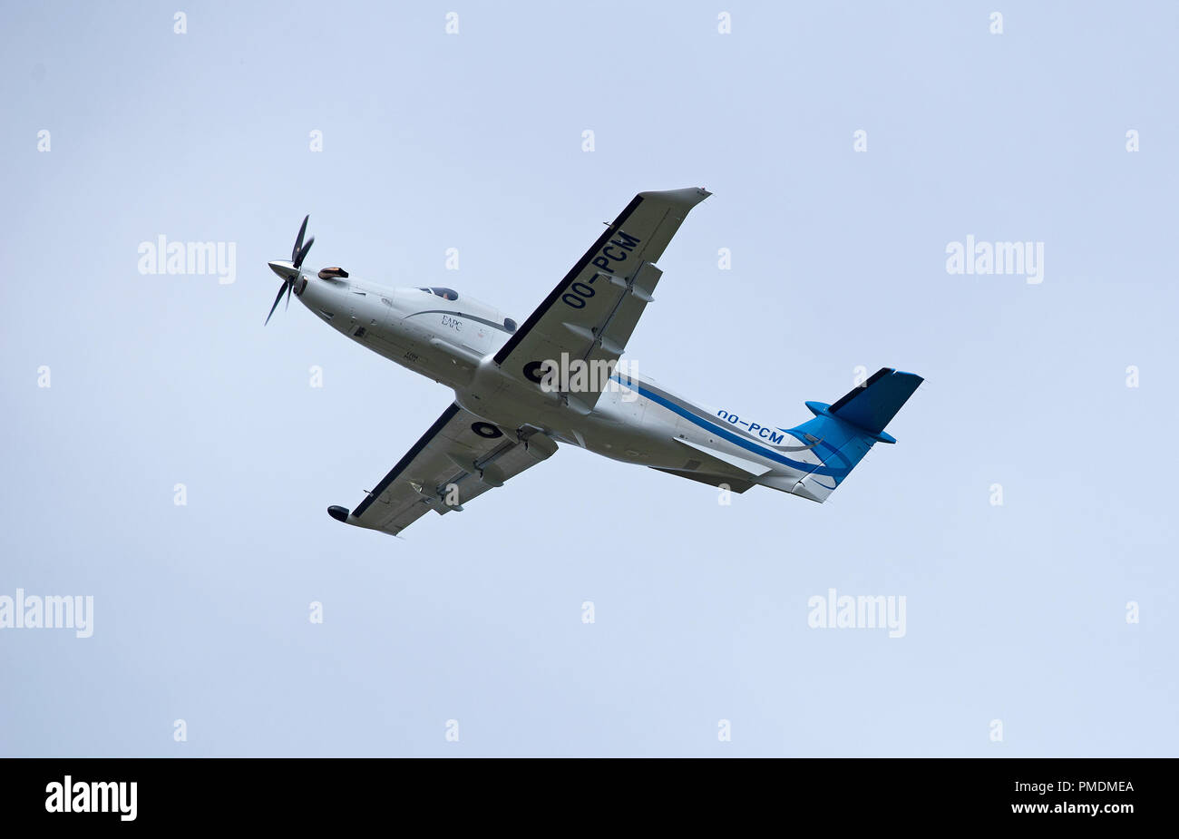 A pc12/47e Reg OO-PCM departing from Inverness in the SCOTTISH hIGHLANDS. - Stock Image