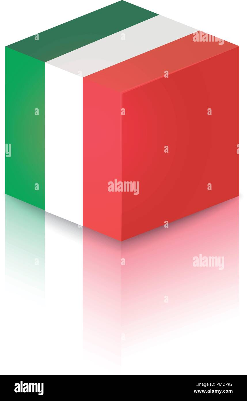 Cube in colors of Italian National Flag - Vector Clipart illustration for decoration of Travel Companies and Tours. - Stock Vector