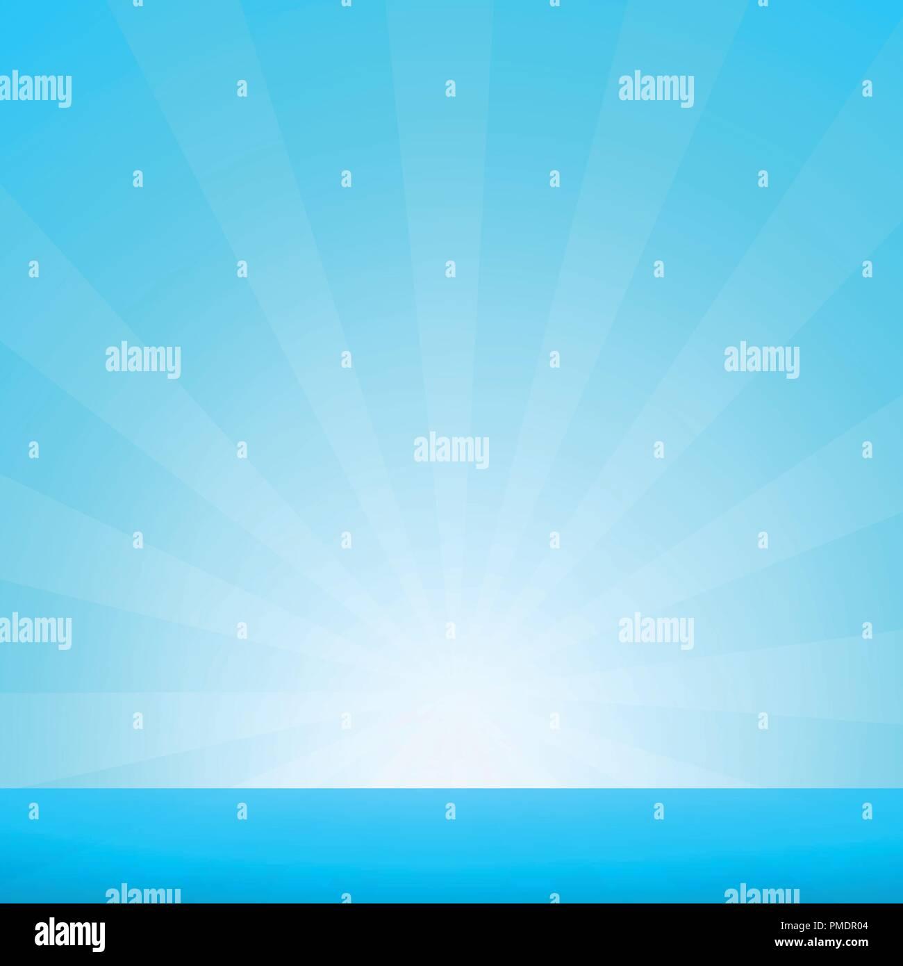 Nautical Marine Landscape with Sunburst and Blue Sea Horizon. Vector Illustration in EPS 10. - Stock Vector