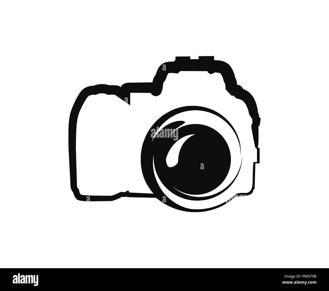 Vector black Icon of Camera isolated on white background Stock Vector