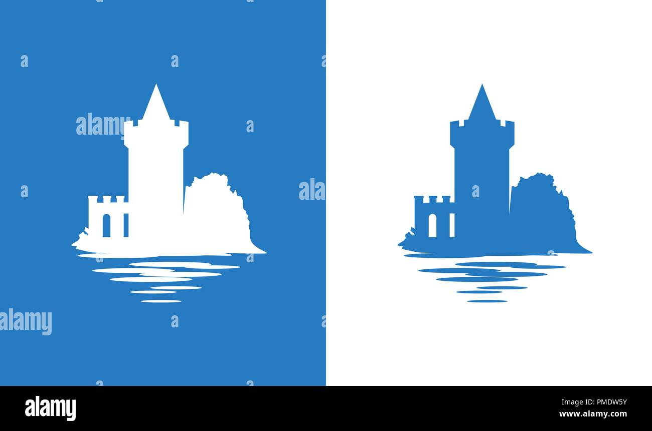 Icon with European Medieval Falkirk Castle in colors of Scottish National Flag - Stock Vector