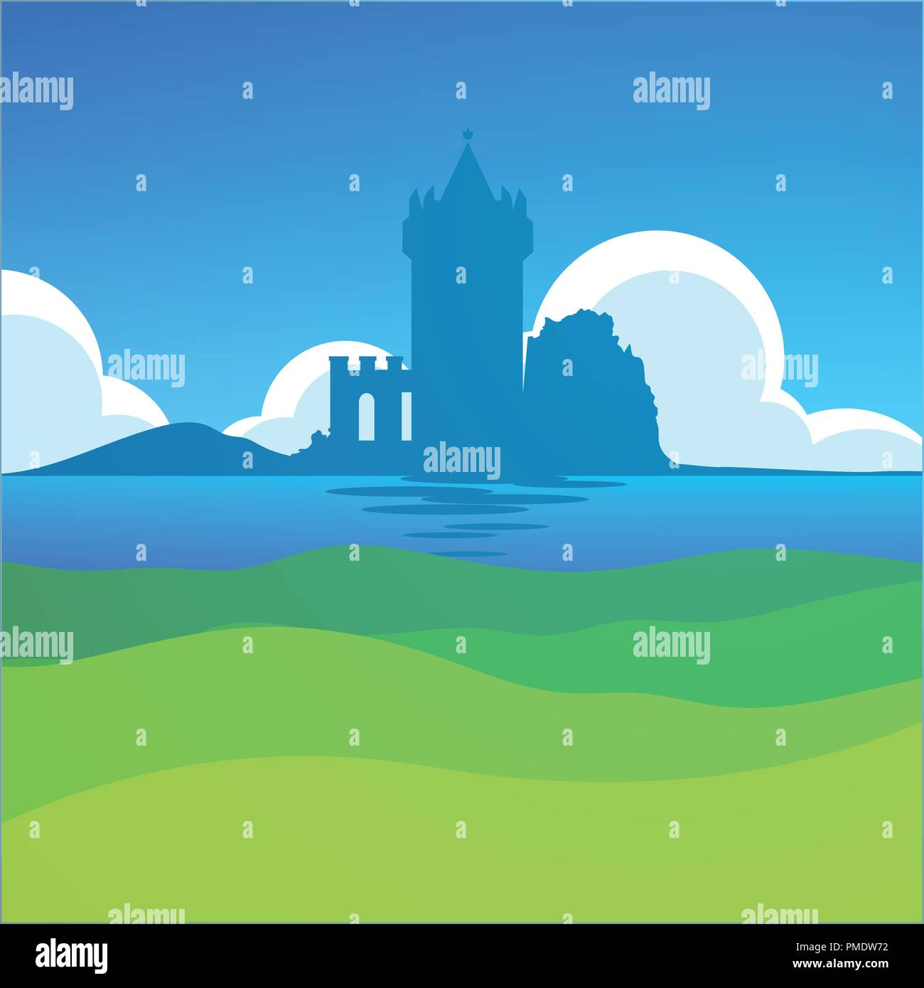 Castle in Falkirk, Scotland - European Scenic Daily Landscape with Medieval theme. - Stock Vector