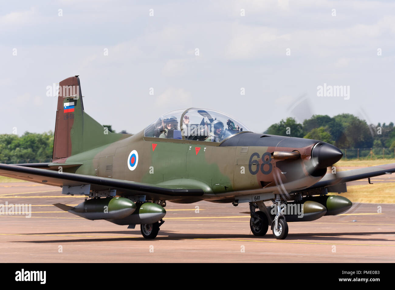 Slovenian Air Force and Air Defence Pilatus PC-9M Hudournik at the Royal International Air Tattoo, RIAT, RAF Fairford. PC-9 plane - Stock Image