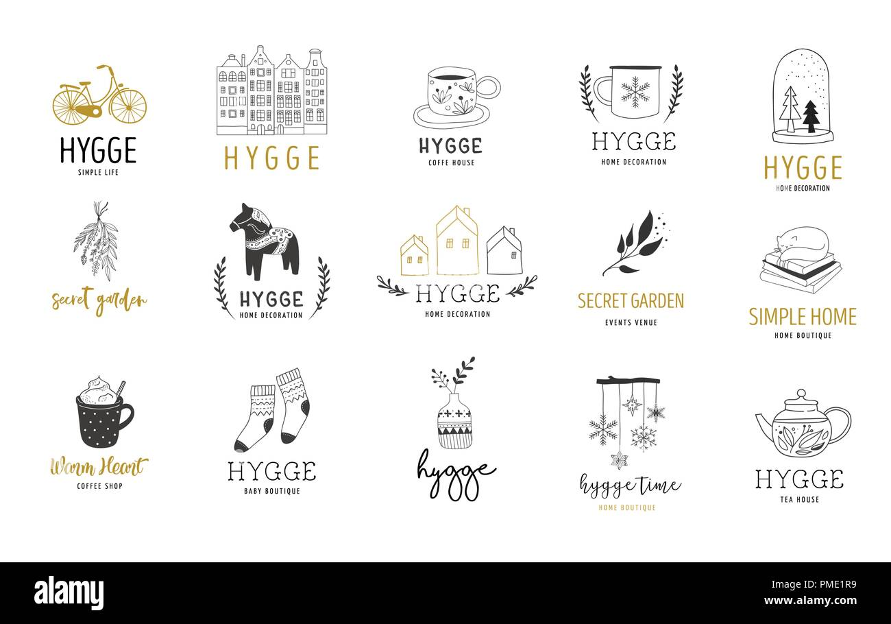 Hygge - Simple Life in Danish, collection of hand drawn elegant and clean logos, elements - Stock Image